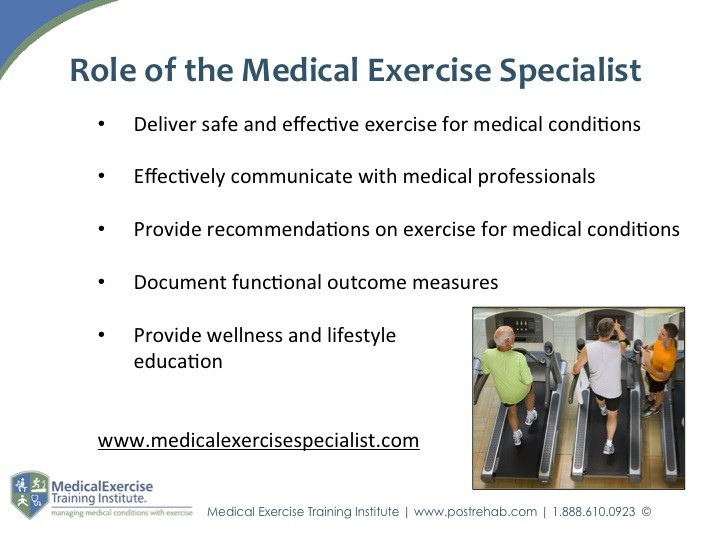 Role of the Medical Exercise Specialist