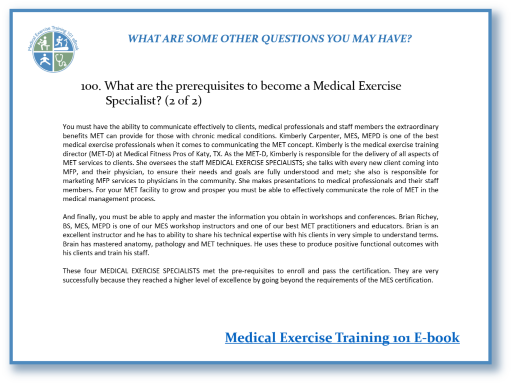 Medical Exercise Training 101 E Book Tip 100b Postrehab